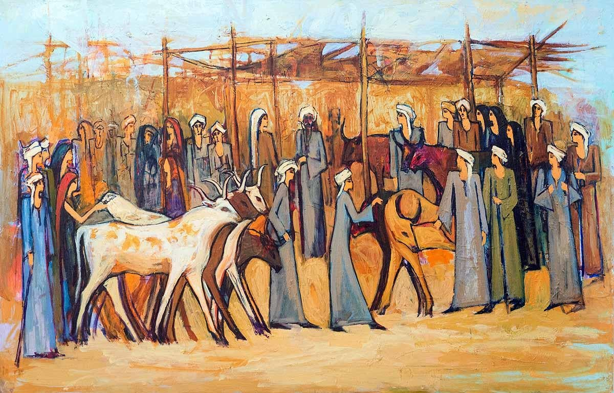 """""""Cattle Market 2"""" Acrylic painting 35""""x59""""inch by Alaa Awad"""