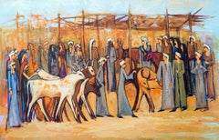 """Cattle Market 2"" Acrylic painting 35""x59""inch by Alaa Awad"