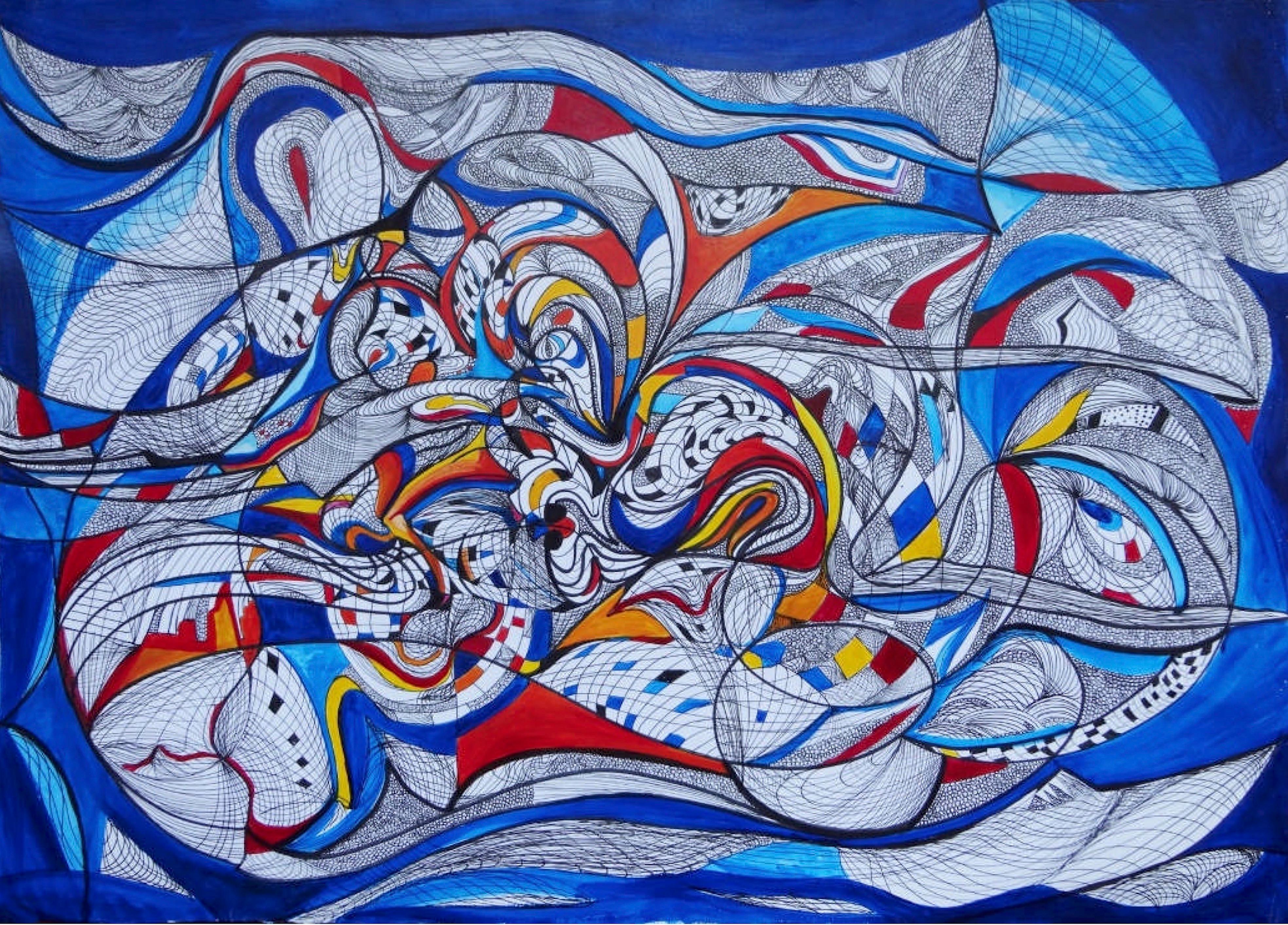"""""""Untitled"""" Acrylic on paper Painting 20""""x28"""" inch by Ghaidaa Ashraf"""