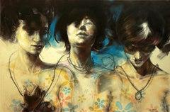 """Superego - Ego - Id"" Pencil & Acrylic Painting 39""x59"" inch by Hend EL Falafly"