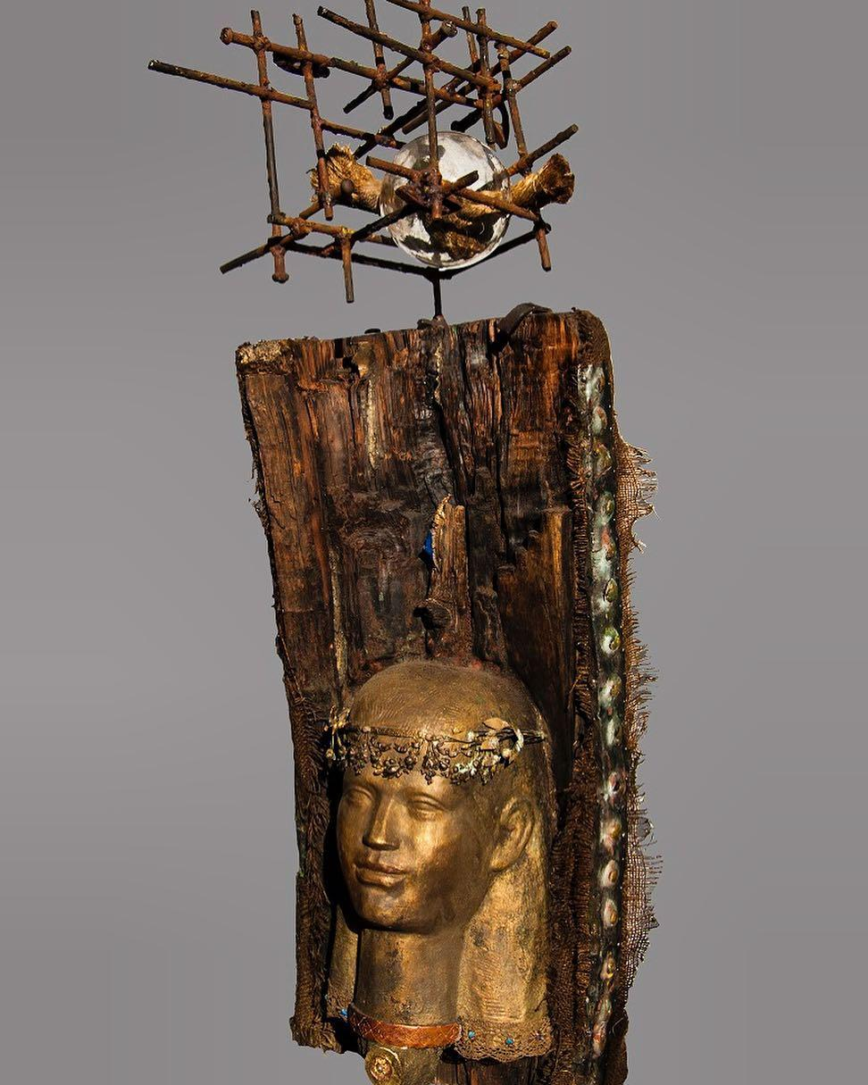 """""""Alexandria 1"""" Mixed media and wood Sculpture 39""""x18""""inch by Alfons Louis"""