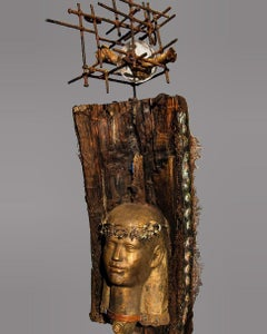 """Alexandria 1"" Mixed media and wood Sculpture 39""x18""inch by Alfons Louis"