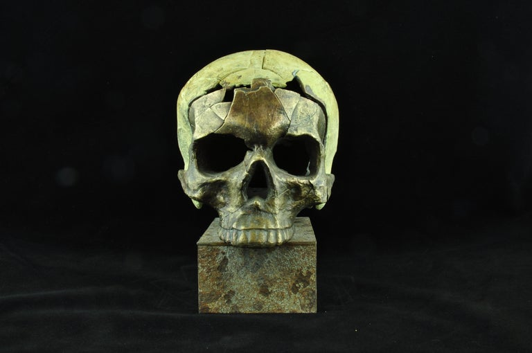 """""""The known unknown Nr. 5"""" Bronze and Steel Sculpture 1/1 by Sergii Shaulis  11.61"""" x 5.5"""" x 9.8'' inch  Weight: 13 lbs  The known unknown series  The project is dedicated to the horrible events that took place on the territory of Ukraine, to the"""