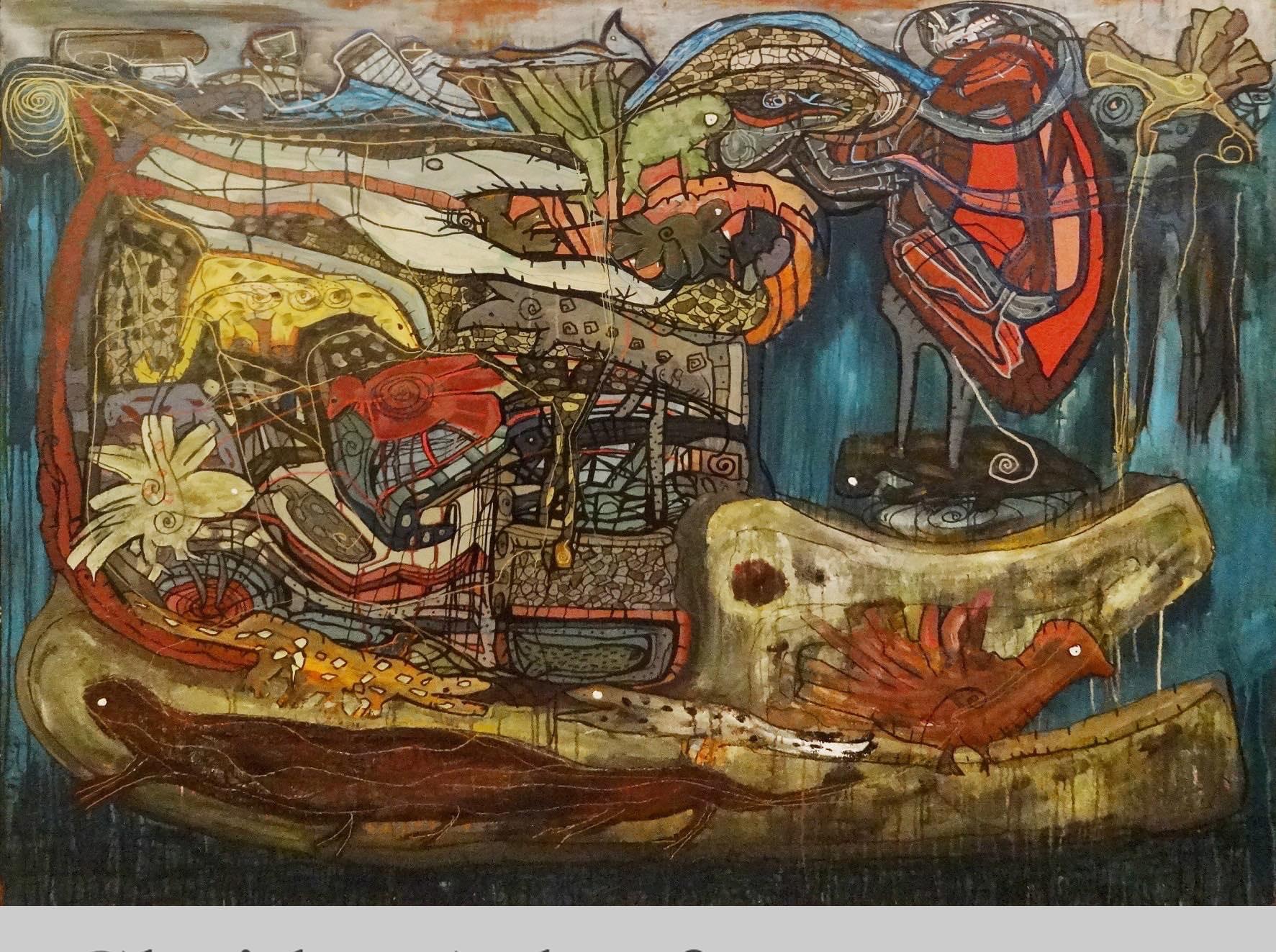 """Breakthrough"" Acrylic & Inks painting 55""x71"" inch by Ghaidaa Ashraf"