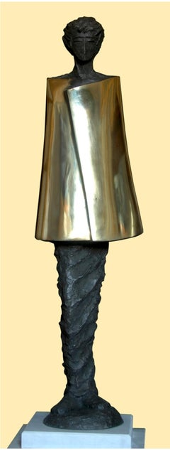 """Restriction"" Bronze sculpture 46"" x 12,5"" x 12,5"" in by Sarkis Tossonian"