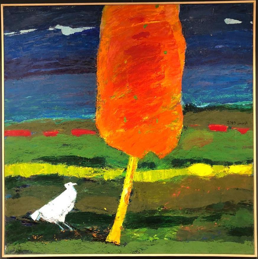 """""""White Bird"""" Oil Painting 51 """"x 51"""" inch by Ashraf Zamzami"""