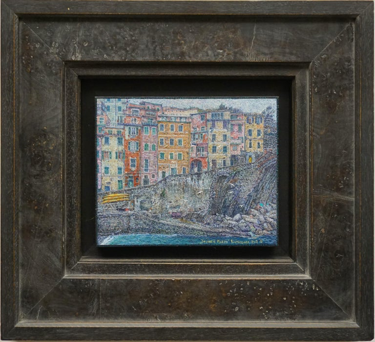 """Tenth of March. Riomaggiore"" Framed 19"" x 21"" inch Painting by Nikita Makarov  Woodpanel, levkas, tempera, acrylic 2019 Comes in a custom frame as shown on photos.  Size framed: 19"" x 21"" inch   Makarov is attracted to the discreet beauty of the"