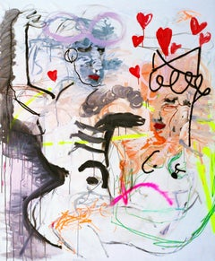 """In Love"" Mixed media Painting 59"" x 43"" inch by Emanuele Tozzoli"