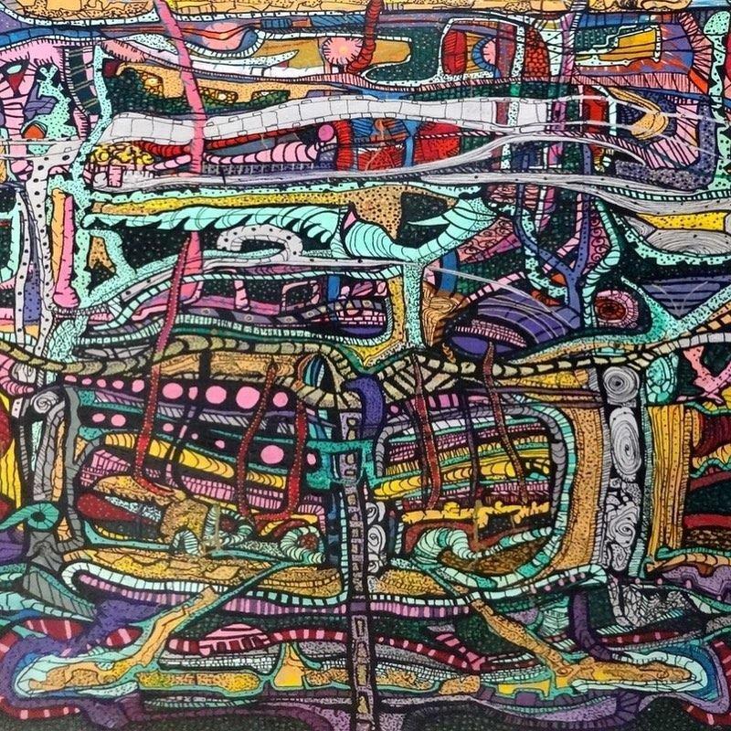 """""""Mechanism"""" Acrylic & Inks Painting 56"""" x 35"""" inch by Ghaidaa Ashraf"""