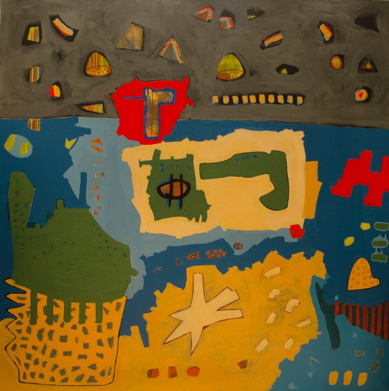 """""""Untitled"""" Acrylic Painting 78"""" x 78""""inch by Ahmed Gaafary  Nabokov's Signs Ahmed Gaafary takes Vladimir Nabokov's phenomenal short story """"On Signs and Symbols"""" as an instigator to series of large and medium scale paintings. The fictitious"""