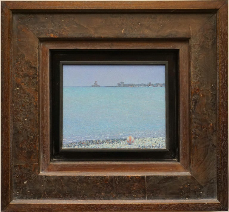 """Heat. Methoni"" Framed: 19"" x 20"" inch Painting by Nikita Makarov  Woodpanel, levkas, tempera, acrylic 2016 Comes in a custom frame as shown on photos.  Size framed: 19"" x 20"" inch   Makarov is attracted to the discreet beauty of the world – not the"