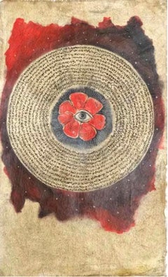 """Flower Eye"" Ink on Fabric Painting 16"" x 9"" inch by Mohamed Monaiseer"