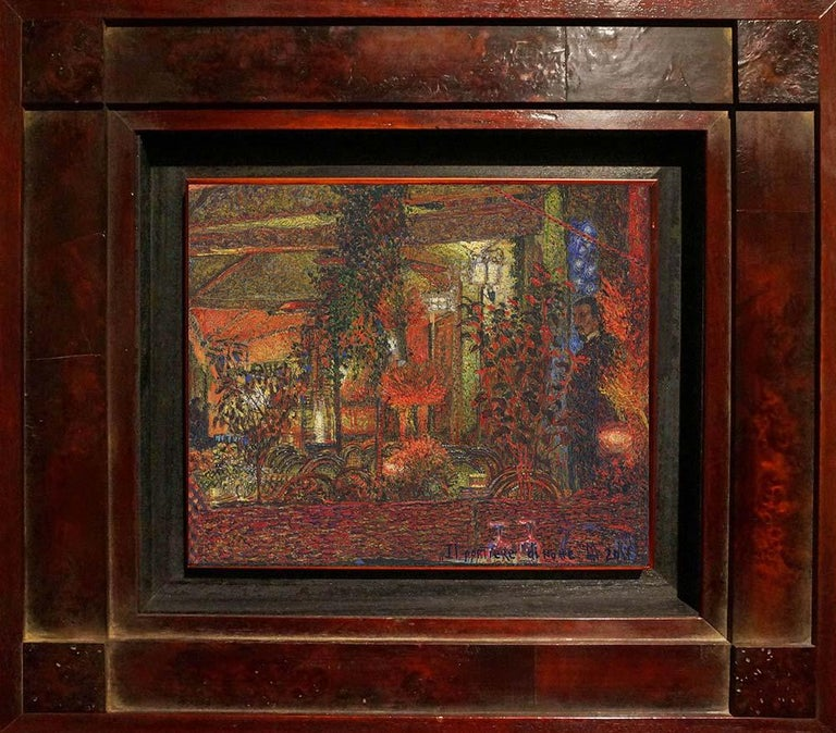 """""""Night porter"""" Framed: 16"""" x 17"""" inch Painting by Nikita Makarov  Woodpanel, levkas, tempera, acrylic 2017 Comes in a custom frame as shown on photos.  Size framed: 16"""" x 17"""" inch   Makarov is attracted to the discreet beauty of the world – not the"""