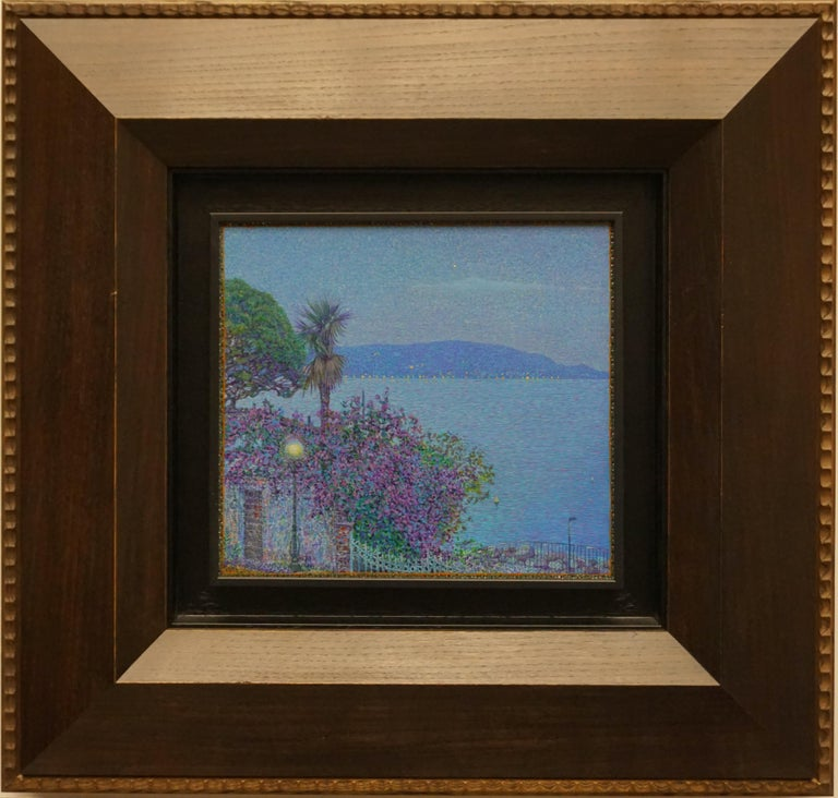 """""""The first star.Toscalano-Maderno"""" Framed 22""""x23"""" in Painting by Nikita Makarov  Woodpanel, levkas, tempera, acrylic 2017 Comes in a custom frame as shown on photos.  Frames are designed by the Artist for each work.  Size: 10"""" x 11"""" inch Size"""