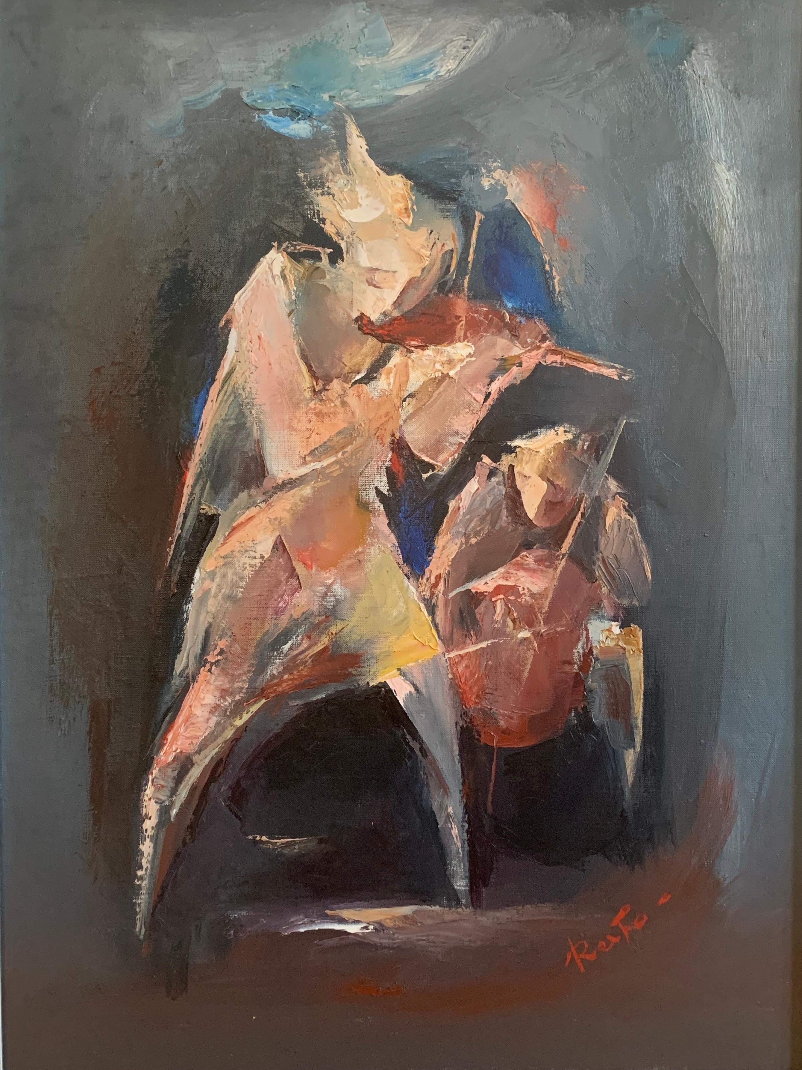 """""""Musicians. Violin"""" Oil Painting 31"""" x 23"""" inch  by Raphael Aslanyan"""