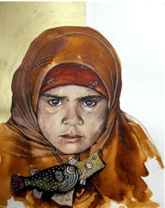 """""""Girl with Fish"""" Painting Diptych Acrylic and Inks 16"""" x 12"""" inch by Ahmed Saber"""