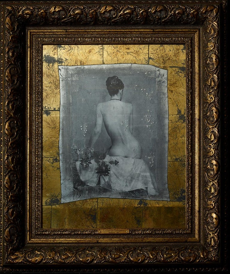 """Girl with a Glass"" Photography 16""x20"" in. Ed 1/3 by VLADIMIR CLAVIJO-TELEPNEV   Eglomise (bromoil gelatin silver print, gold and silver leaf, and hand painted mirror)  Vladimir Clavijo-Telepnev was born in 1962 in Moscow, in the family of creative"