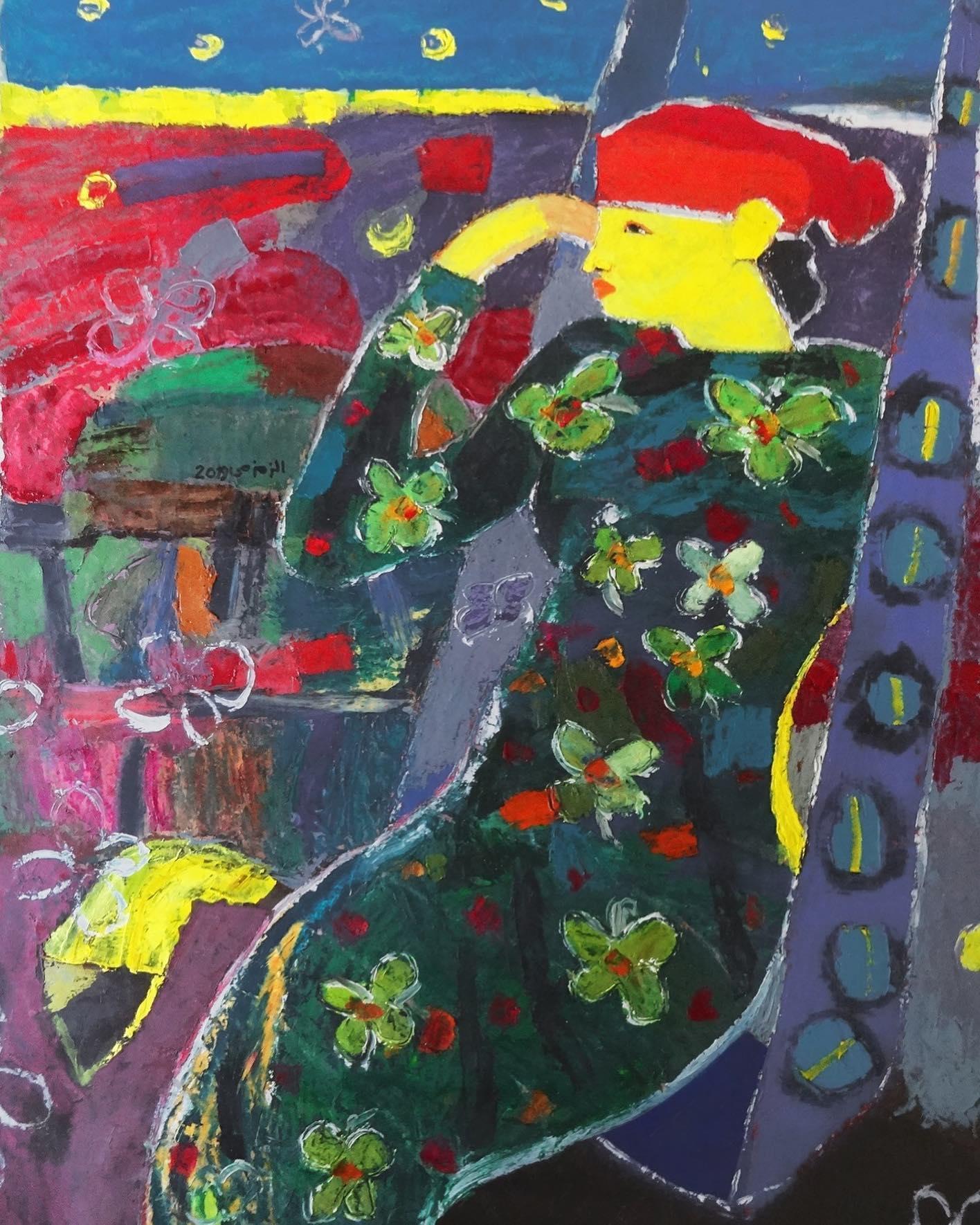 """""""Reflection"""" Oil Painting 53 """"x 38"""" inch by Ashraf Zamzami"""