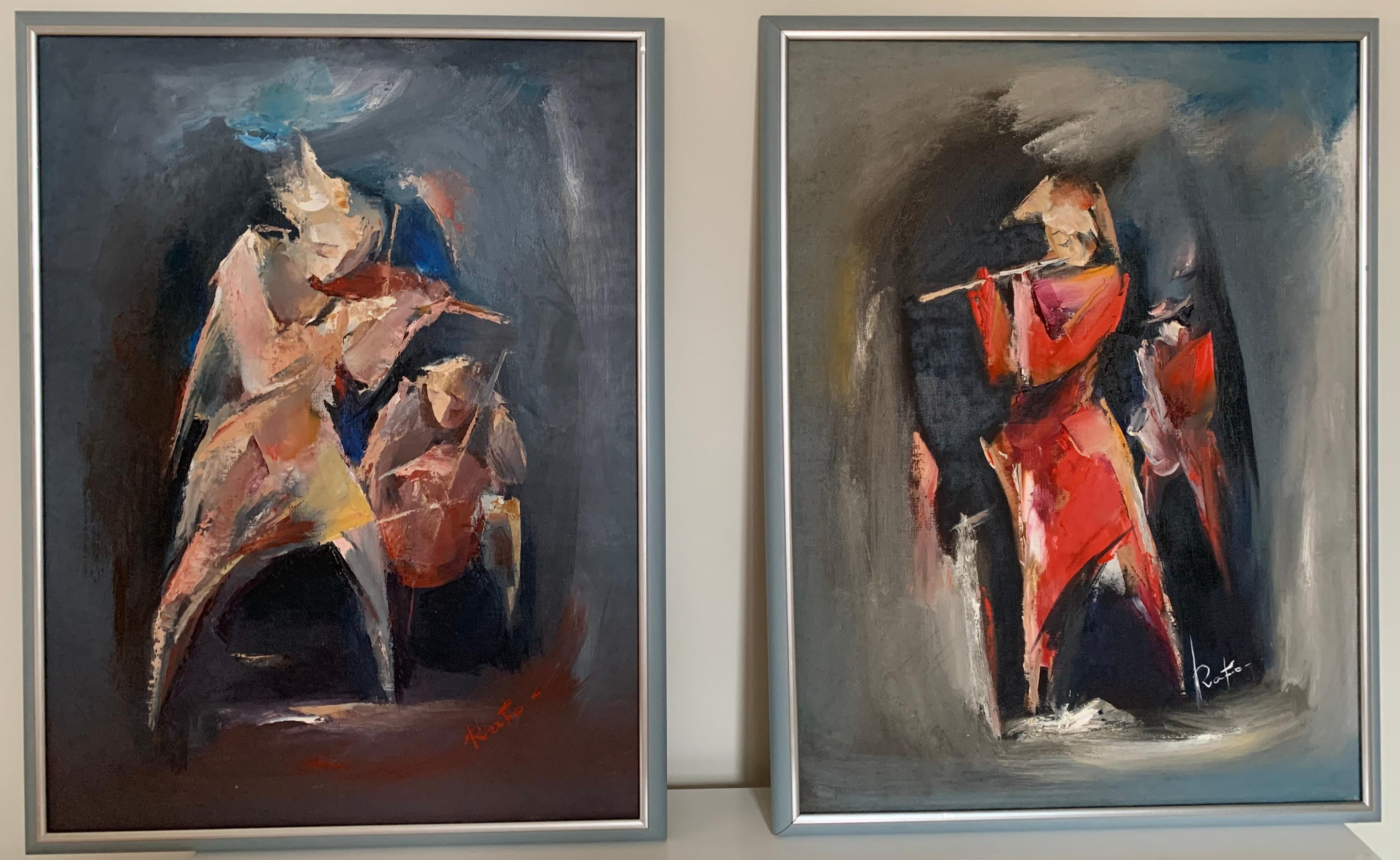 """""""Musicians"""" Diptych Oil on Canvas by Raphael Aslanyan"""