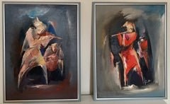 """Musicians"" Diptych Oil on Canvas by Raphael Aslanyan"
