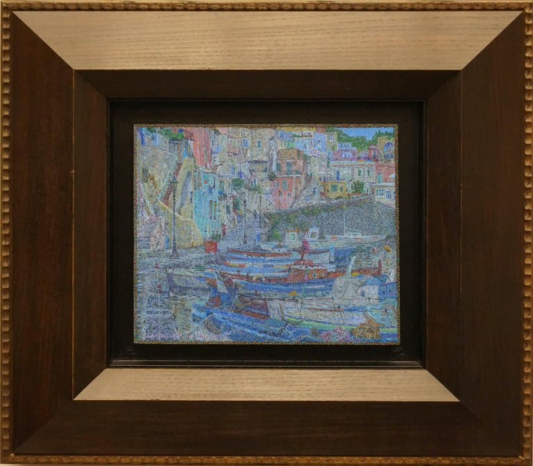 """Corichella. Procida"" Framed 20"" x 24"" inch Painting by Nikita Makarov  Woodpanel, levkas, tempera, acrylic 2020 Comes in a custom frame as shown on photos.  Frames are designed by the Artist for each work.  Size: 10"" x 12"" inch Size framed: 20"" x"