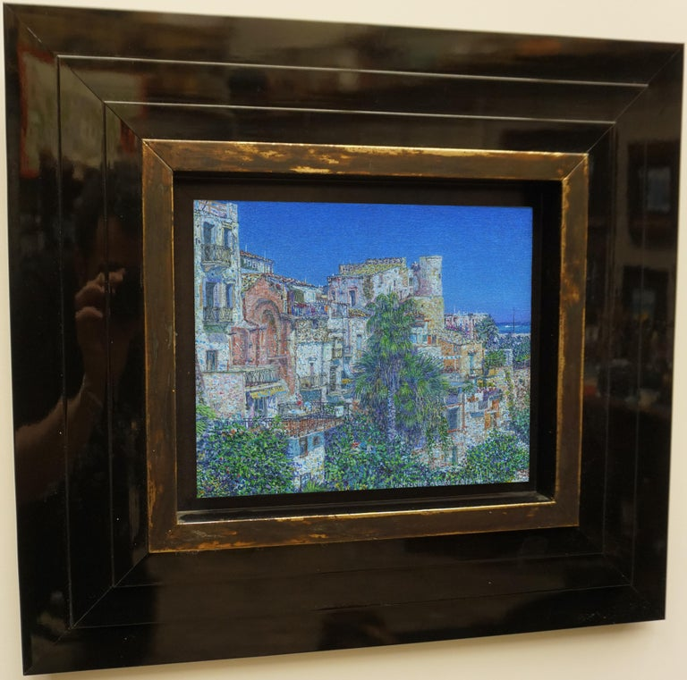 """""""August twenty sixht. Castellammare dell golfo"""" Painting by Nikita Makarov  Woodpanel, levkas, tempera, acrylic 2019 Comes in a custom frame as shown on photos.  Frames are designed by the Artist for each work.  Size: 9"""" x 10"""" inch Size framed: 21"""""""