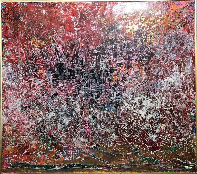 """Metaphysical Intimacy"" Mixed Media Painting 65"" x 73"" inch by Ahmed Farid   Comes in wooden frame as shown on photos.   * Due to the Ministry of Culture policy, handling time (paperwork) may take up to 2-3 weeks.   Born in Cairo, Egypt, in 1950"