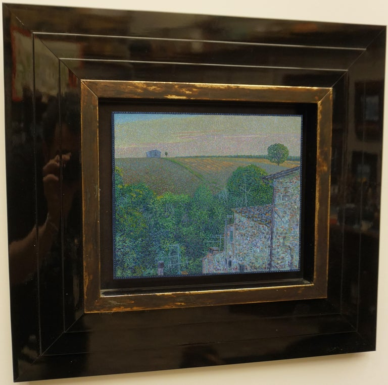 """""""Sunset time.Colle di val d'Elsa"""" Framed 18"""" x 20"""" in Painting by Nikita Makarov  Woodpanel, levkas, tempera, acrylic 2020 Comes in a custom frame as shown on photos.  Frames are designed by the Artist for each work.  Size: 9"""" x 9"""" inch Size framed:"""