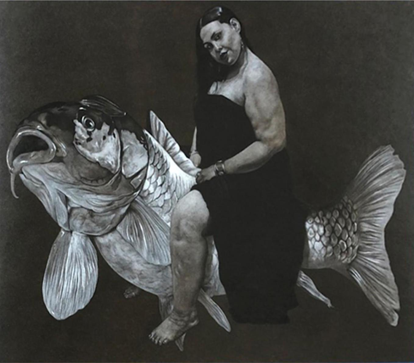 """""""Woman & Fish"""" Charcoal on Paper Painting 20"""" x 25"""" inch by Ahmed Saber"""
