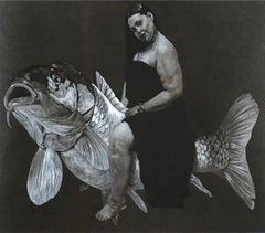 """Woman & Fish"" Charcoal on Paper Painting 20"" x 25"" inch by Ahmed Saber"