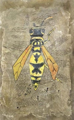 """Bee"" Ink on Fabric Painting 59"" x 35"" inch by Mohamed Monaiseer"
