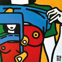 """""""B-size (mini)"""" Acrylic Painting 20"""" x 20"""" inch by Roman Reznitsky"""