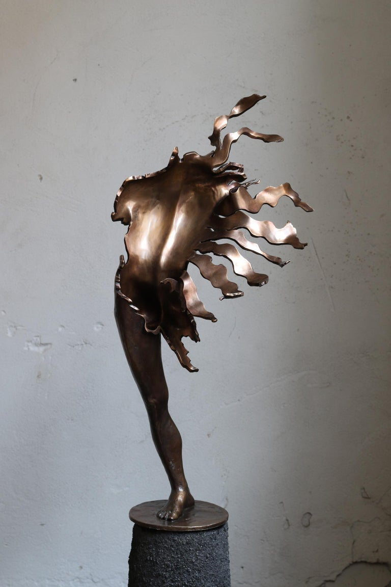 """""""Wind of Change"""" Sculpture 20.5"""" x 10"""" x 6.3"""" inch Ed. 1/1 by Sergii Shaulis   2020 Man. From the Fateful Flowers series Approximate weight 14 lbs   ABOUT ARTIST  Born on 27 May 1985 in Kharkiv, Ukraine. From 2005 to 2011 studied at the Kharkiv"""