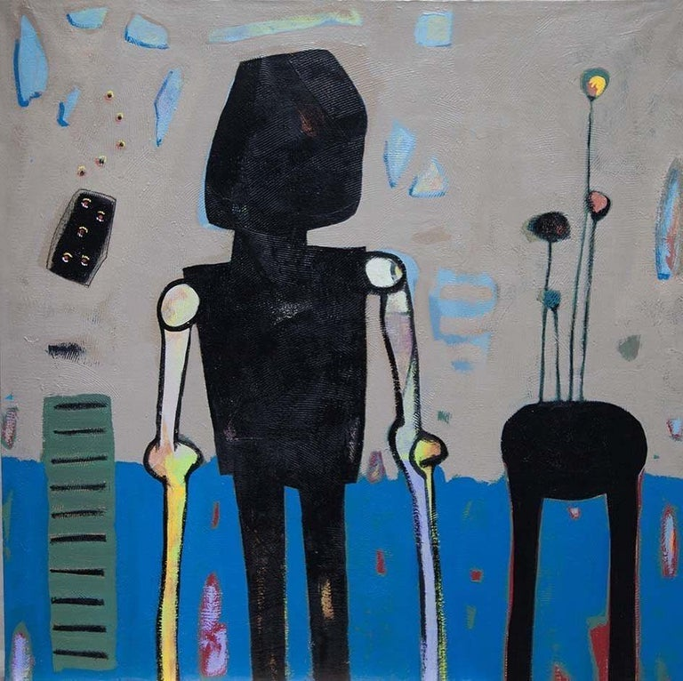 """""""Untitled"""" Painting 39"""" x 39"""" inch by Ahmed Gaafary  * Due to the Ministry of Culture policy, handling time (paperwork) may take up to 2-3 weeks.   Nabokov's Signs Ahmed Gaafary takes Vladimir Nabokov's phenomenal short story """"On Signs and Symbols"""""""