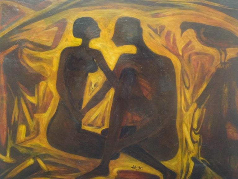 """""""Couple II"""" Oil on Canvas Painting 28"""" x 35"""" inch by Mohammed Ismail   1993   ABOUT THE ARTIST  Mohammed Ismail (1936-1993)  Dr. Mohamed Ismail was born in 1936 in Zagazig in Egypt. He graduated and obtained his Masters in painting from the Faculty"""