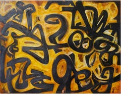 """Abstraction I"" Oil on Wood Painting 36"" x 48"" inch by Mohammed Ismail"
