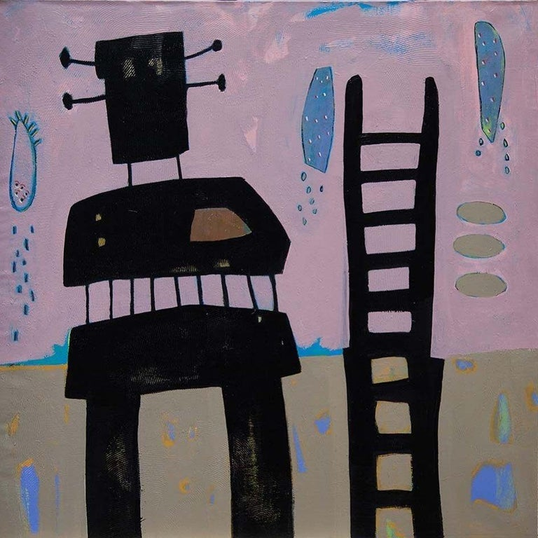 """""""Untitled 12"""" Painting 39"""" x 39"""" inch by Ahmed Gaafary  * Due to the Ministry of Culture policy, handling time (paperwork) may take up to 2-3 weeks.    Nabokov's Signs Ahmed Gaafary takes Vladimir Nabokov's phenomenal short story """"On Signs and"""