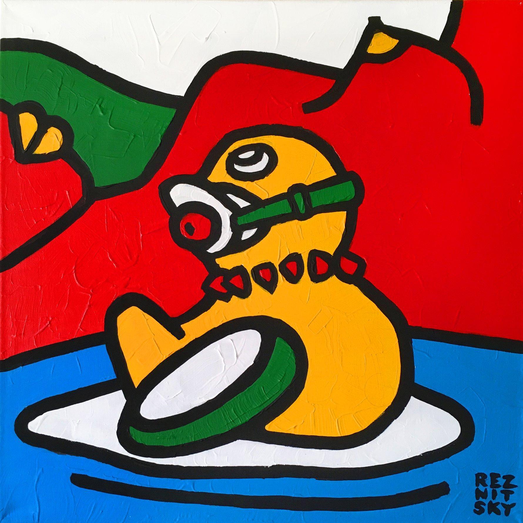 """Ducktales (mini)"" Acrylic Painting 20"" x 20"" inch by Roman Reznitsky"