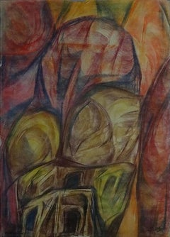 """""""Abstraction IX"""" Oil on Wood Painting 24"""" x 7"""" inch by Mohammed Ismail"""