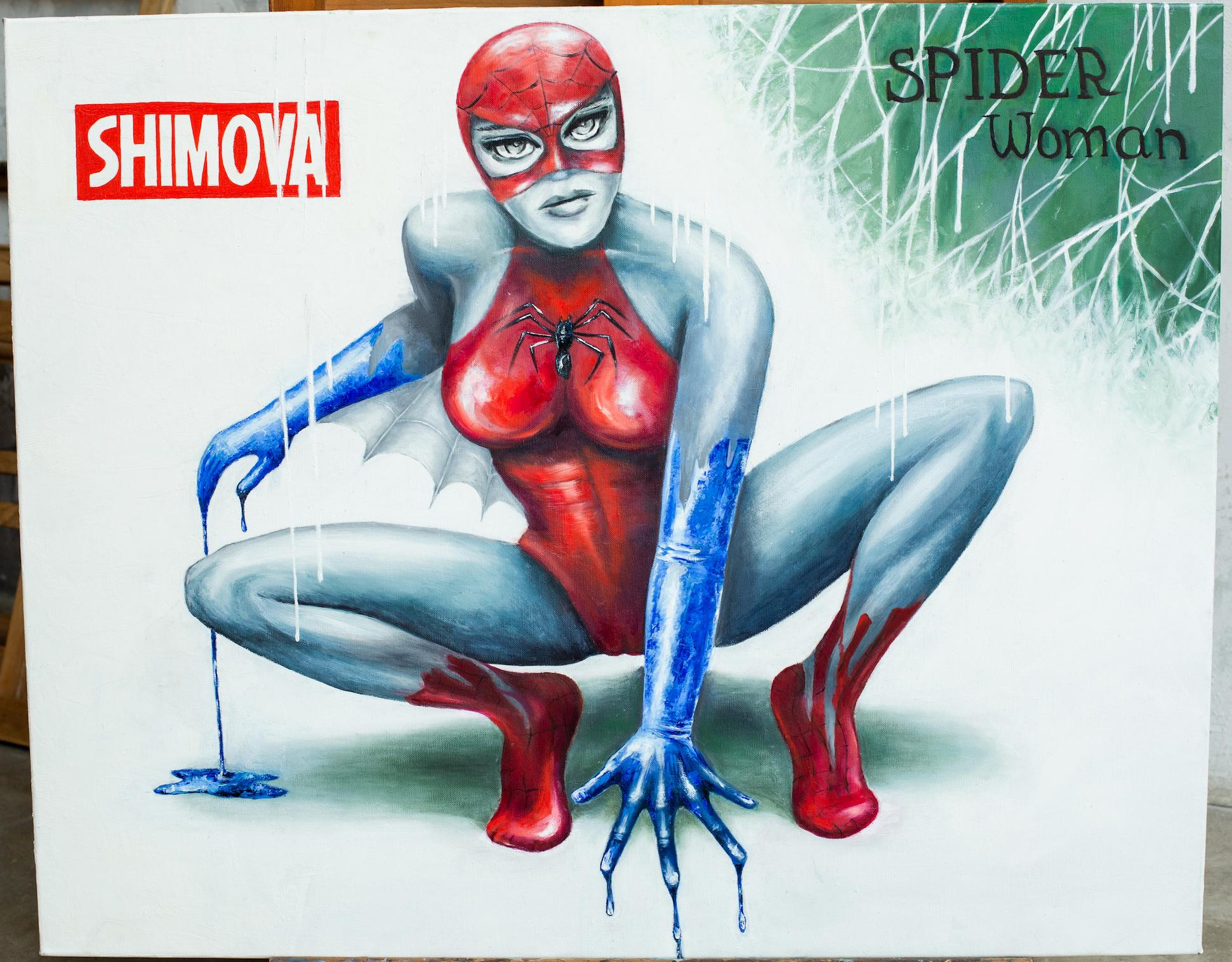 """""""Spider Woman"""" Oil painting 31"""" x 39"""" inch by Alina Shimova"""