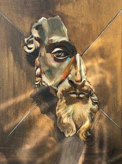 """The Bronze Mask"" Acrylic on canvas 36"" x 26"" inch painting by Tom Barnabi"