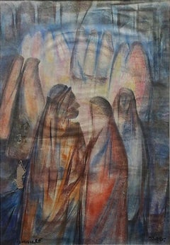 """""""Figures III"""" Oil on Wood Painting 23"""" x 16"""" inch by Mohammed Ismail"""
