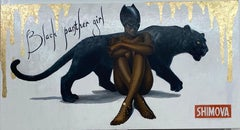 """""""Black Panther Girl"""" Oil painting 31"""" x 59"""" inch by Alina Shimova"""