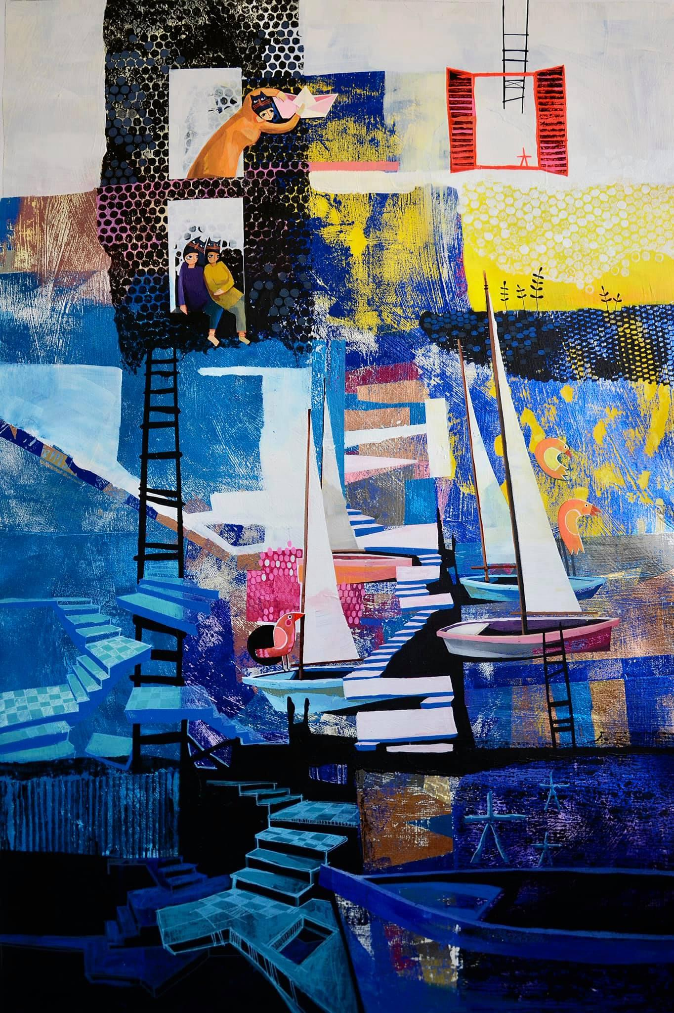 """""""Harbors of the Simple Dream"""" Mixed media Painting 46"""" x 31"""" in by Yasmine Reda"""