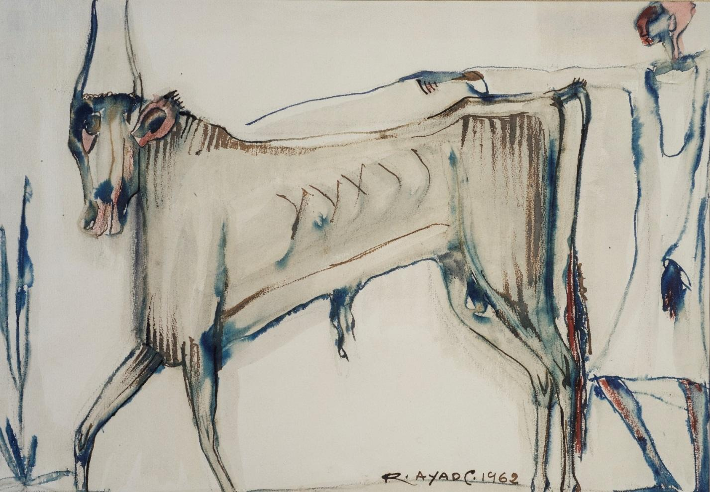 """""""The Bull"""" Watercolor on Paper 15"""" x 21"""" inch by Ragheb Ayad"""