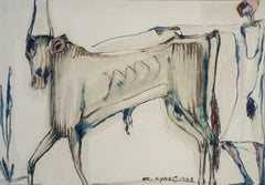 """The Bull"" Watercolor on Paper 15"" x 21"" inch by Ragheb Ayad"