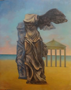 """Greek God II"" Oil & Coal Painting 71"" x 55"" inch by Hussein Zahran"