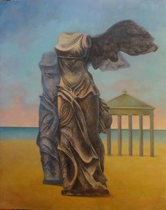 """Greek God II"" Oil & Coal Painting 71"" x 55"" inch by Hussein Zahran"