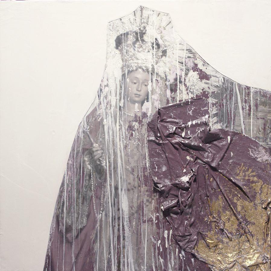 """Lirio y capa"" Mixed media Painting on linen 39"" x 39"" inch by Jordi Diaz Alamà"