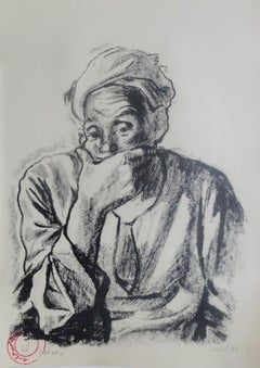 """Contemplation"" signed Lithograph 12"" x 8"" inch Edition 46/100 by Hamed Abdalla"